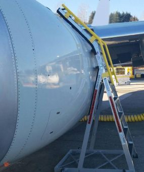 10 Foot Cowl Pylon Max Positioned On Engine Of Boeing 737 Max On Tarmac