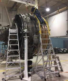 14' LNC Engine Access Ladder with tech working on Boeing 777 engine