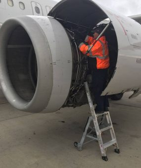 5 Foot Mini Pylon With Technician Working In Engine Of Airbus A320 On Tarmac
