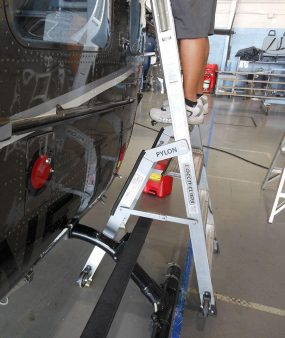6' Helicopter Pylon Ladder close up of technician on Airbus helicopter