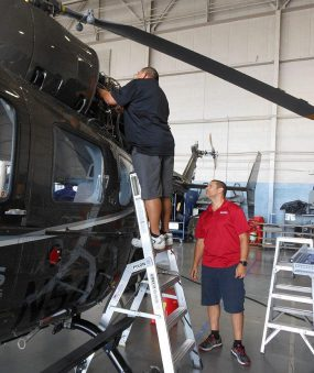 6' Helicopter Pylon Ladder with technician on Airbus helicopter