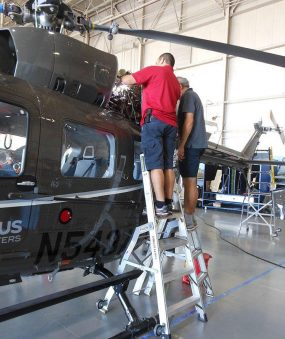 6' Helicopter Pylon Ladder with two technicians working on Airbus helicopter