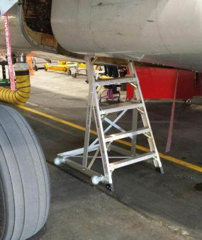 6' Gear & Wheel Well Cadet Ladder in compartment on Boeing 737
