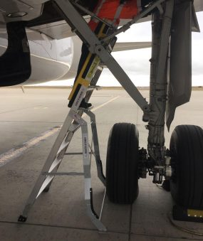 8 Foot Lnc Pylon320 With Technician Checking Out Wheel Support On Airbus A320 On Tarmac