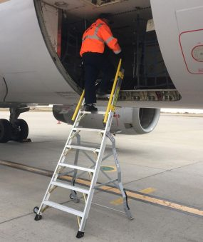 8 Foot Lnc Pylon320 With Technician Climbing Sinde Baggage Area Of Airbus A320 On Tarmac