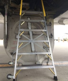 8 Foot Lnc Pylon320 With Technician Inside Wheel Well Of Airbus A320 On Tarmac Second Shot