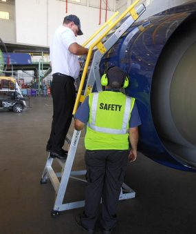 9' Cowl Pylon Ladder on Boeing 737 with two technicians checking out the ladder