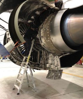 9 Foot Cowl Pylon With Technician Working In Fan Cowl Area Of Airbus A350 In Hangar