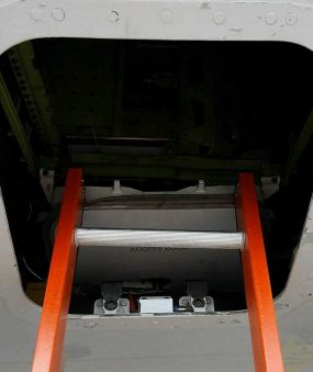 E&E Lite Ergonomic Safety Ladder close up in Boeing 787