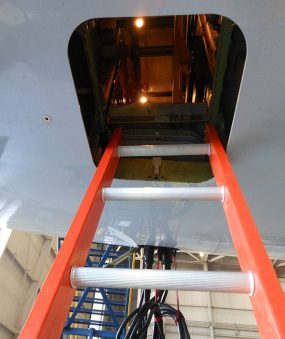 E&E Lite Ergonomic Safety Ladder in Boeing 777 E&E compartment close up