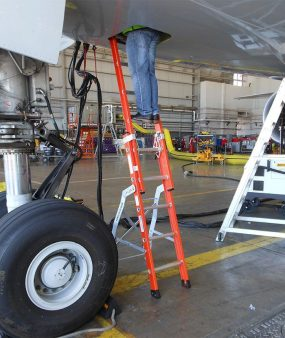 E&E Lite Ergonomic Safety Ladder in Boeing 777 E&E compartment with technician