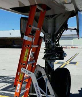 E&E Lite Ergonomic Safety Ladder in E&E compartment on Boeing 767