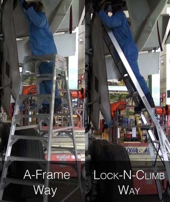 Boeing 767 comparing A-Frame to LockNClimb 12' Gear & Wheel Well Cadet Ladder