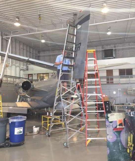 13' LNC Pylon Engine Ladder on Cessna Citation Excel tail area
