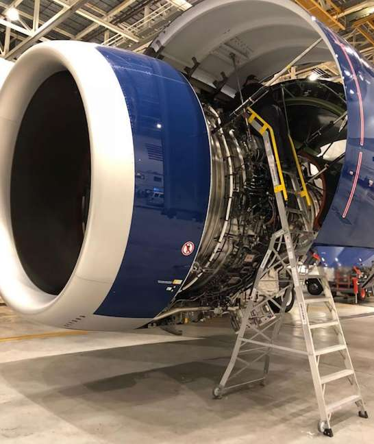 15 Foot Cowl Pylon With Technician Working Under Cowl On Engine Of Airbus A350 In Hangar