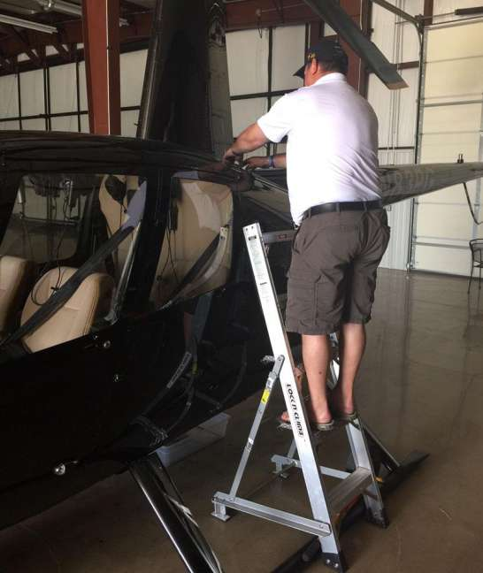 5' LNC Lite Aluminum Ladder on a Robinson helicopter