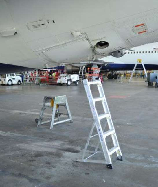 5' LNC Lite Aluminum Ladder by rear lavatory on MD88