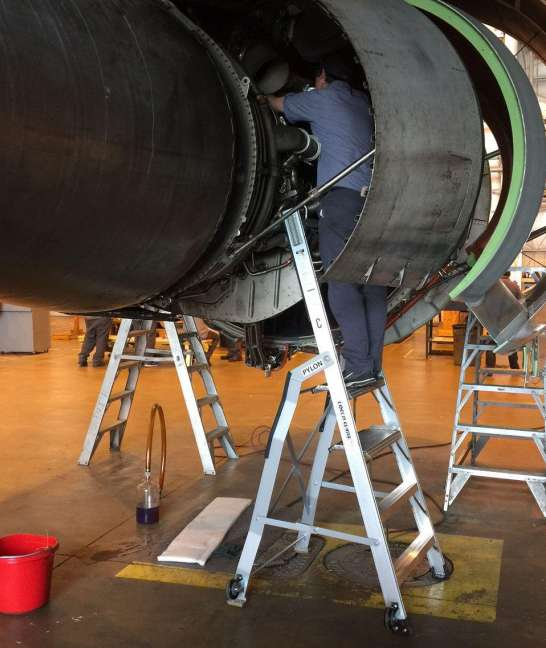 7 Foot Lnc Pylon With Technician Working Under TR Of Boeing 767