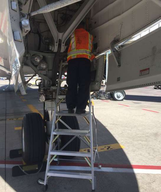 7 Foot Lnc Pylon Ladder With Technician Working In Nose Gear Door Of Boeing 787 On Tarmac