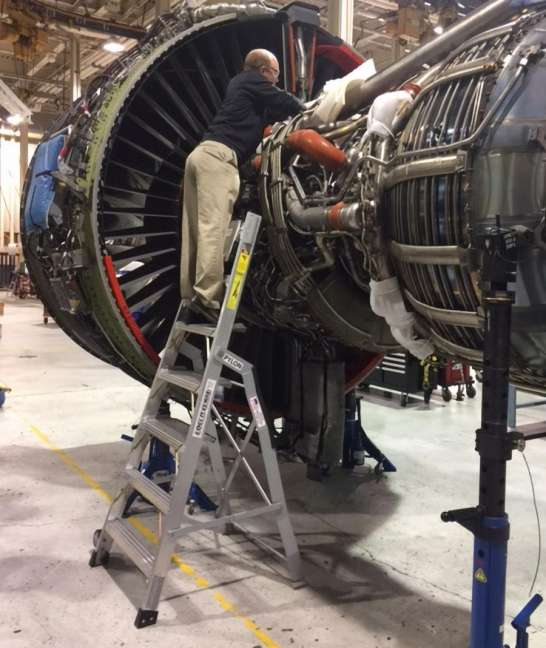 7' LNC Pylon Engine Ladder with tech working on Boeing 787 engine