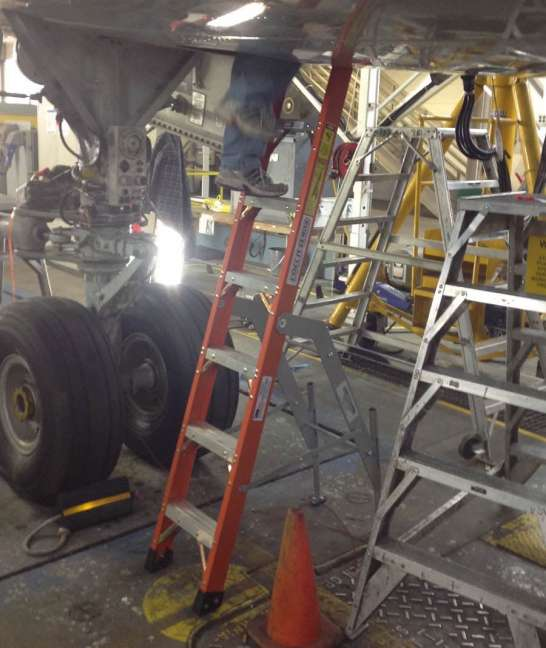 8' Fiberglass MRO Cadet General Aviation Ladder in Boeing 757 E&E compartment