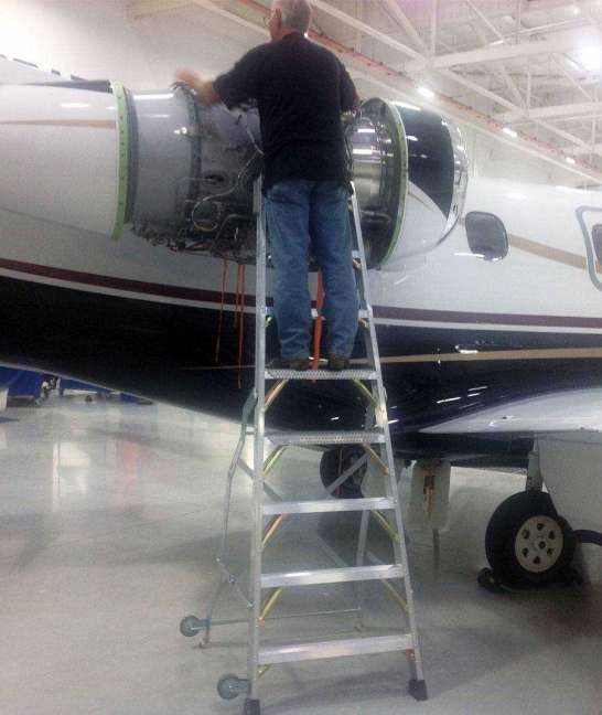 8' LNC Pylon Engine Ladder with tech on Embraer Legacy 450-650 Series Jet