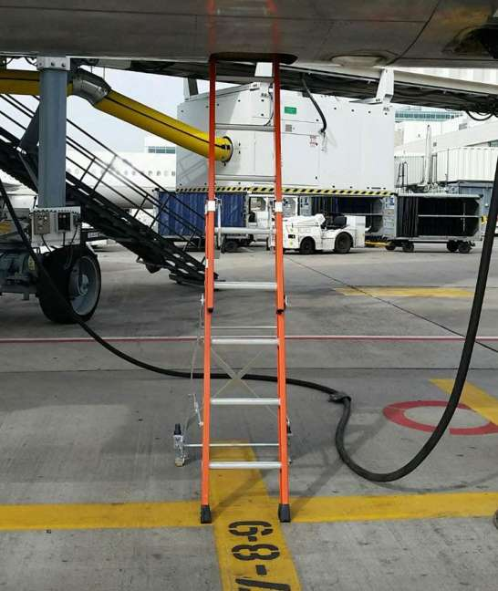E&E Lite Ergonomic Safety Ladder in compartment on Boeing 757
