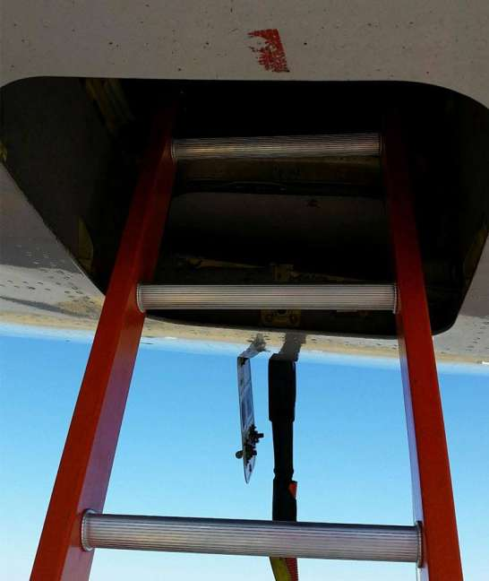 E&E Lite Ergonomic Safety Ladder in E&E compartment on Boeing 767 close up