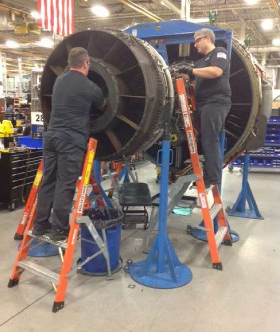 Engine Shop Ladders in action on aircraft engine