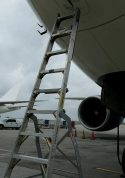 11' LNC Pylon Engine Ladder on tarmac with Boeing 777