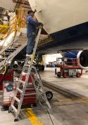 11 Foot Lnc Pylon With Technician Working At Cargo Door Opening Of Airbus A350 In Hangar