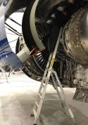 11 Foot Lnc Pylon With Technician Working High In Fan Cowl Area Of Airbus A350 In Hangar Second Shot