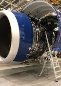 11 Foot Lnc Pylon With Technician Working In Fan Cowl Area Of Airbus A350 In Hangar