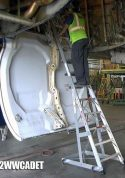 12' Gear & Wheel Well Cadet Ladder in gear well of Boeing 767