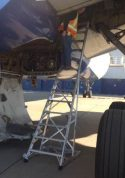 13' Gear & Wheel Well Cadet Ladder in wheel well of Airbus A330 on tarmac