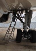 13' Gear & Wheel Well Cadet Ladder with technician working up in wheels of Boeing 787