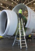 15' Cowl Pylon Ladder in Boeing 777 engine with technician standing