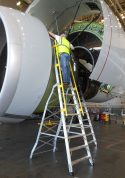 15' Cowl Pylon Ladder in Boeing 777 engine with technician working