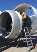 15 Foot Cowl Pylon Ladder With Technician Working On Engine Of Boeing 787 On Tarmac
