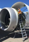15 Foot Cowl Pylon Ladder With Technician Working On Engine Of Boeing 787 On Tarmac2
