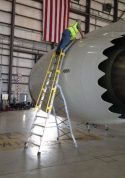 15' Cowl Pylon Ladder on Boeing 787 with technician examining