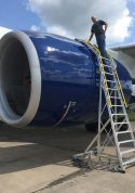18 Foot Cowl Pylon With Technician Working On Boeing 777 Engine On Tarmac Second Angle