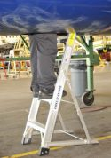 5' LNC Lite Aluminum Ladder in electronic equipment access compartment on MD88