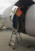 6 Foot Lnc Pylon With Technician Working In Engine Of Boeing A320 On Tarmac Third Shot