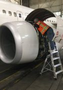 6 Foot Lnc Pylon With Technician Working Over Engine Of Boeing 737