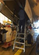 7 Foot Lnc Pylon With Technician Working On Nose Gear Of Boeing 767