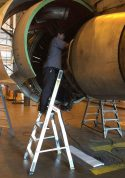 7 Foot Lnc Pylon With Technician Working Under TR Of Boeing 767 From Second Angle