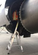 7 Foot Lnc Pylon With Technician Working In Engine On Boeing 757 On Tarmac