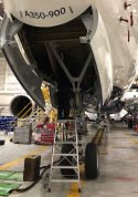8 Foot Lnc Pylon With Technician Working In Nose Gear Of Airbus A350