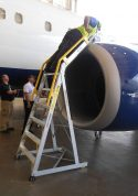 9' Cowl Pylon Ladder on Boeing 737 engine with technician reaching